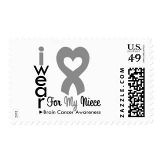 Brain Cancer Heart Ribbon For My Niece Postage Stamps