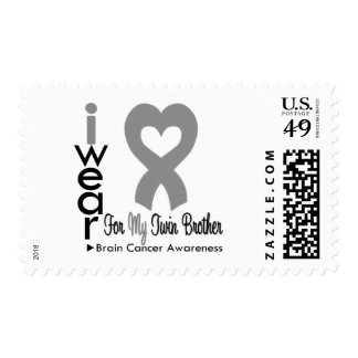 Brain Cancer Heart Ribbon For My Twin Brother Stamp