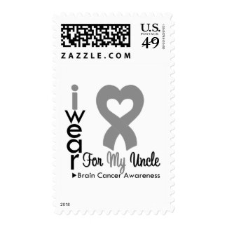 Brain Cancer Heart Ribbon For My Uncle Postage
