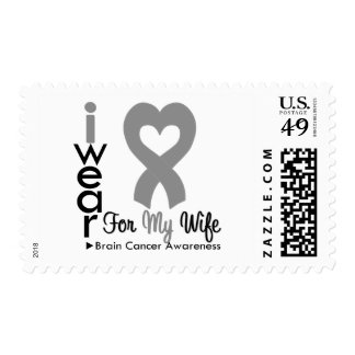 Brain Cancer Heart Ribbon For My Wife Postage Stamp