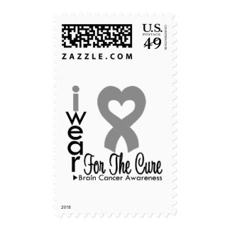 Brain Cancer Heart Ribbon For The Cure Postage Stamps
