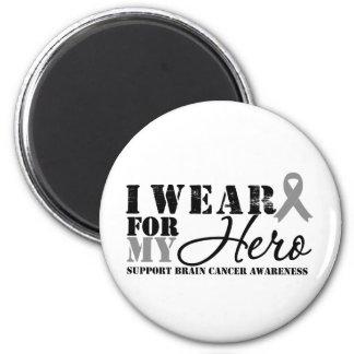 Brain Cancer Hero Grey Ribbon 2 Inch Round Magnet