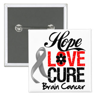 Brain Cancer Hope Love Cure Button