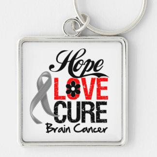 Brain Cancer Hope Love Cure Keychain