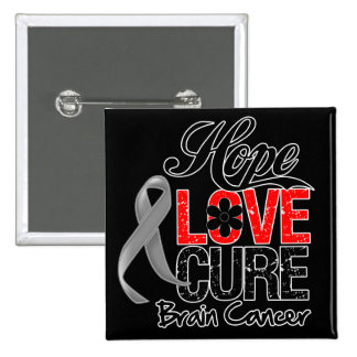 Brain Cancer Hope Love Cure Pinback Buttons