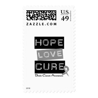 BRAIN CANCER HOPE LOVE CURE STAMPS