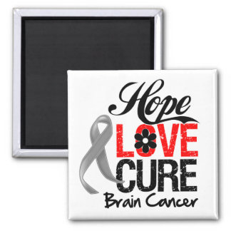 Brain Cancer Hope Love Cure Refrigerator Magnet