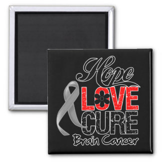 Brain Cancer Hope Love Cure Refrigerator Magnets