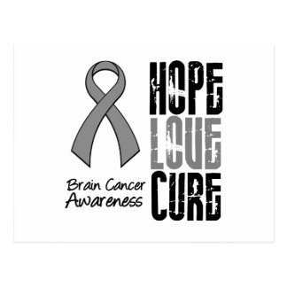 Brain Cancer Hope Love Cure Ribbon Postcard