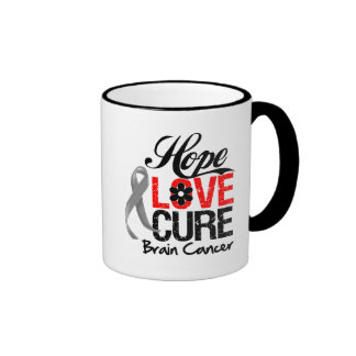 Brain Cancer Hope Love Cure Ringer Coffee Mug
