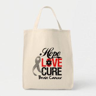Brain Cancer Hope Love Cure Tote Bag