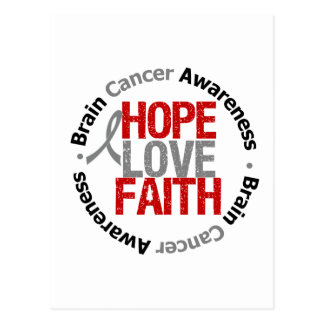 Brain Cancer Hope Love Faith Postcard