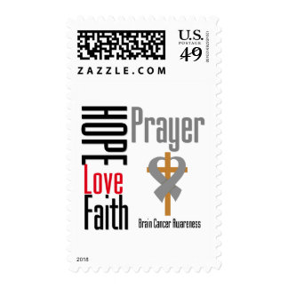 Brain Cancer Hope Love Faith Prayer Cross Postage Stamp