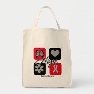 Brain Cancer Hope Love Inspire Awareness Tote Bag