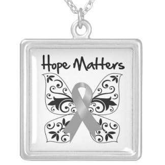 Brain Cancer Hope Matters Square Pendant Necklace