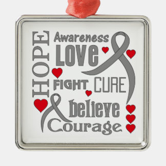Brain Cancer Hope Words Collage Metal Ornament