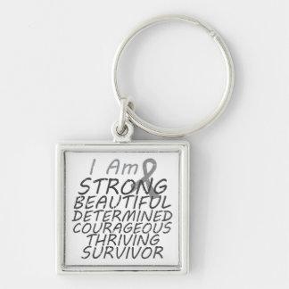 Brain Cancer I Am Strong Survivor Keychains
