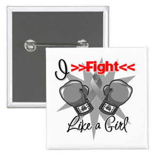 Brain Cancer I Fight Like a Girl With Gloves 2 Inch Square Button