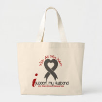 Brain Cancer I Support My Husband Large Tote Bag