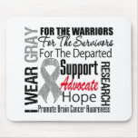 Brain Cancer I Wear Gray Ribbon TRIBUTE Mouse Pad