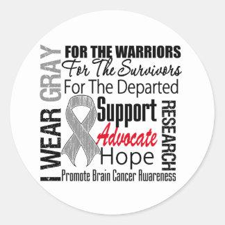 Brain Cancer I Wear Gray Ribbon TRIBUTE Stickers
