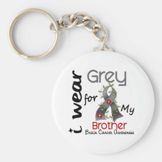Brain Cancer I Wear Grey For My Brother 43 Basic Round Button Keychain