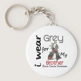 Brain Cancer I Wear Grey For My Brother 43 Keychain