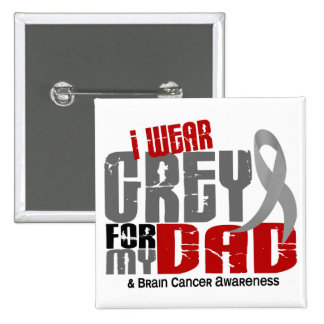 Brain Cancer I Wear Grey For My Dad 6.2 Button
