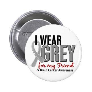 BRAIN CANCER I Wear Grey For My Friend 10 Pinback Button