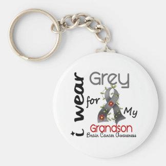 Brain Cancer I Wear Grey For My Grandson 43 Basic Round Button Keychain
