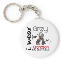 Brain Cancer I Wear Grey For My Grandson 43 Keychain