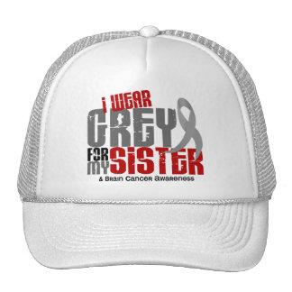Brain Cancer I Wear Grey For My Sister 6.2 Trucker Hats