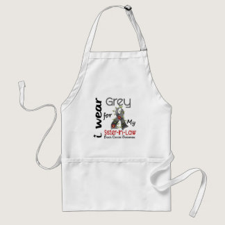 Brain Cancer I Wear Grey For My Sister-In-Law 43 Adult Apron