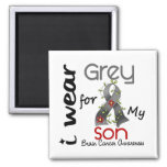Brain Cancer I Wear Grey For My Son 43 2 Inch Square Magnet