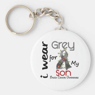 Brain Cancer I Wear Grey For My Son 43 Basic Round Button Keychain