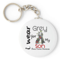 Brain Cancer I Wear Grey For My Son 43 Keychain
