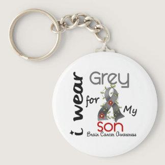 Brain Cancer I Wear Grey For My Son 43 Keychain