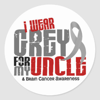 Brain Cancer I Wear Grey For My Uncle 6.2 Classic Round Sticker