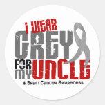 Brain Cancer I Wear Grey For My Uncle 6.2 Round Sticker