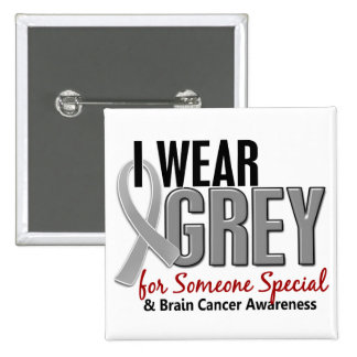 BRAIN CANCER I Wear Grey For Someone Special 10 Pinback Button