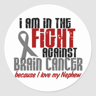 Brain Cancer IN THE FIGHT 1 Nephew Classic Round Sticker
