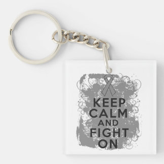 Brain Cancer Keep Calm and Fight On Square Acrylic Keychain