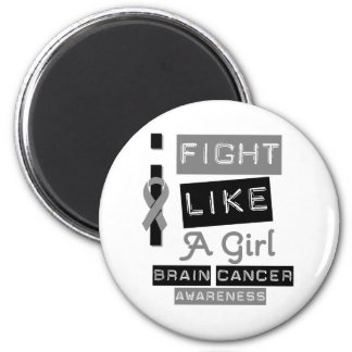 Brain Cancer Label Logo I Fight Like A Girl 2 Inch Round Magnet