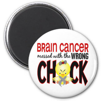 Brain Cancer Messed With The Wrong Chick 2 Inch Round Magnet