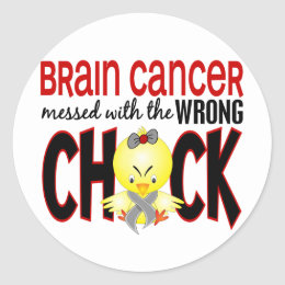 Brain Cancer Messed With The Wrong Chick Classic Round Sticker