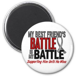 Brain Cancer MY BATTLE TOO 1 Best Friend (Male) 2 Inch Round Magnet