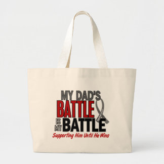 Brain Cancer MY BATTLE TOO 1 Dad Large Tote Bag