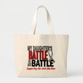 Brain Cancer MY BATTLE TOO 1 Daughter Large Tote Bag