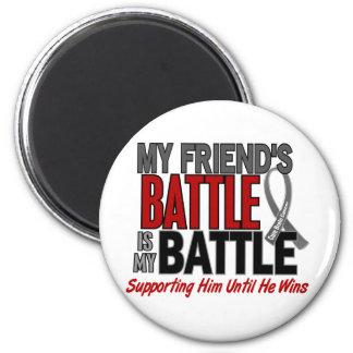 Brain Cancer MY BATTLE TOO 1 Friend (Male) 2 Inch Round Magnet