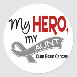 Brain Cancer MY HERO MY AUNT 42 Classic Round Sticker